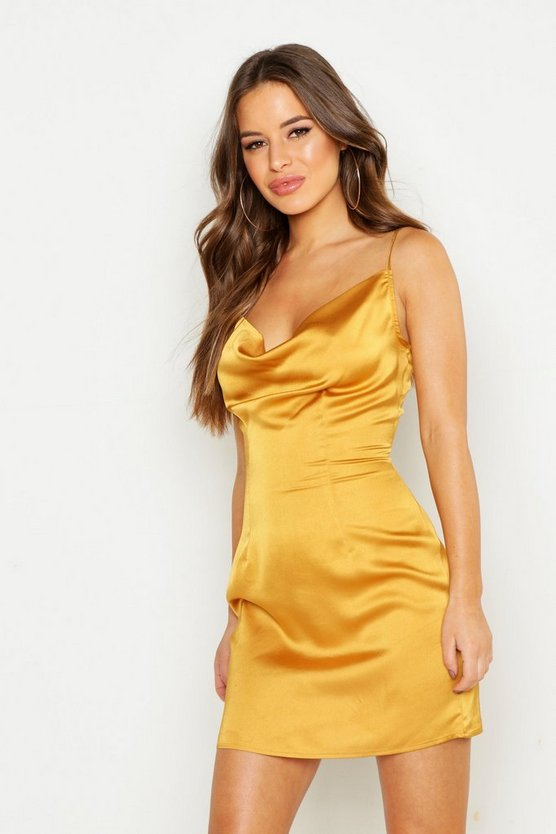 Womens Yellow Petite Satin Cowl Neck Slip Dress