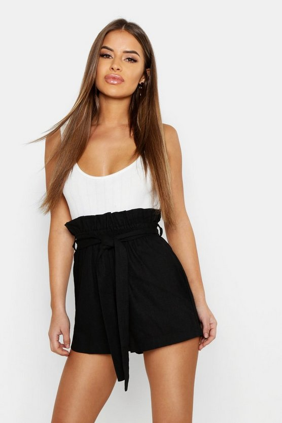 Black Petite Linen Belted High Waisted Shorts