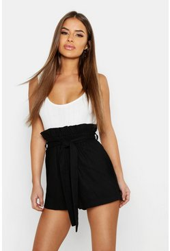 Womens Black Petite Linen Belted High Waisted Shorts