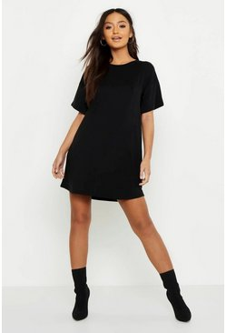 Womens Black Petite Curved Hem T-Shirt Dress