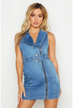 Womens Mid blue Petite Sleeveless Belted Bodycon Denim Dress