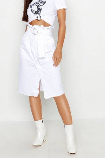 Womens White Petite Belted Denim Midi Skirt