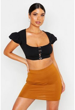 Womens Tobacco Petite Jersey Mini Skirt