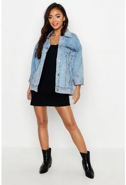Womens Blue Petite Washed Oversized Jacket