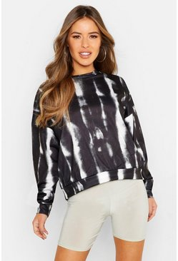 Womens Black Petite Tie Dye Oversized Sweat