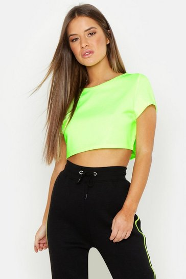Womens Neon-lime Petite Scuba High Neck Crop Top