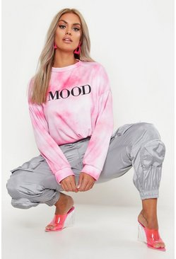 Womens Pink Plus Tie Dye Mood Oversized Sweat