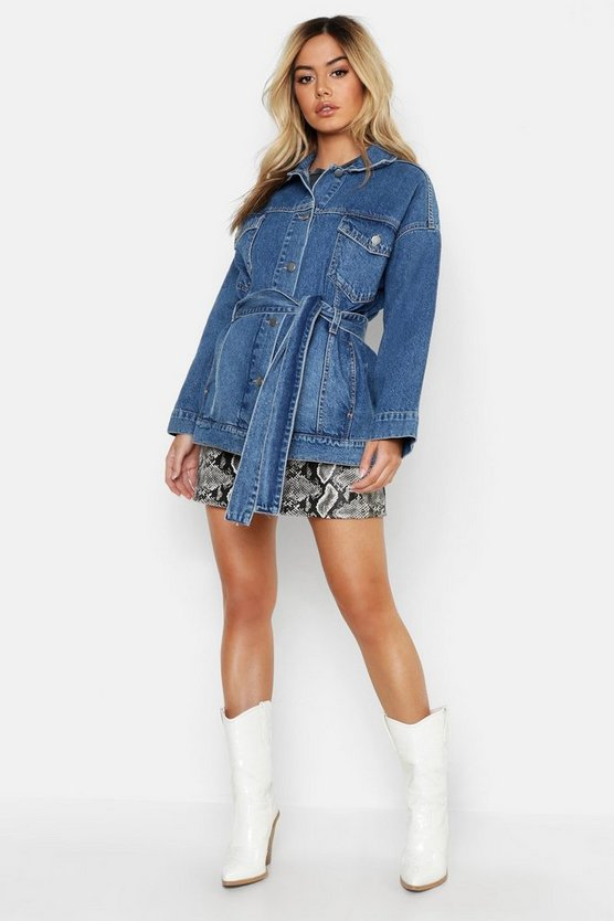Womens Blue Petite Belted Denim Jacket