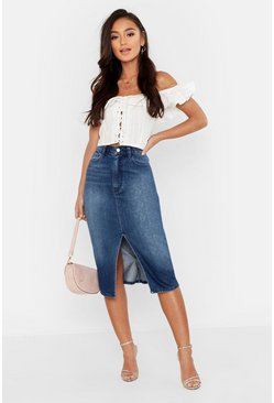 Dam Mid blue Petite Split Front Raw Hem Denim Midi Skirt