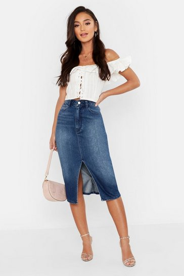 Mid blue Petite Split Front Raw Hem Denim Midi Skirt