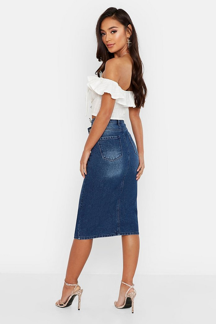 Ladies Blue Denim Front Split Long Midi Maxi Summer Holiday Casual Skirt