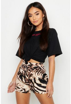 Womens Sand Petite Animal Print Tailored Shorts