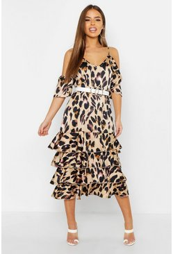 Womens Petite Leopard Print Ruffle Midi Dress