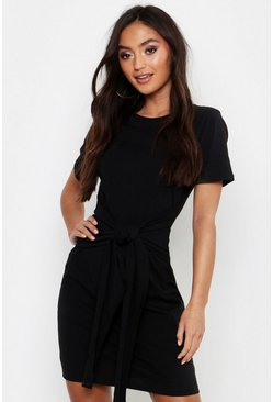 Womens Black Petite Tie Waist T-Shirt Dress