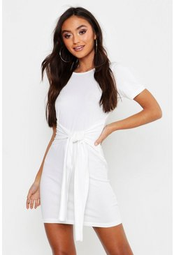 Womens Ecru Petite Tie Waist T-Shirt Dress
