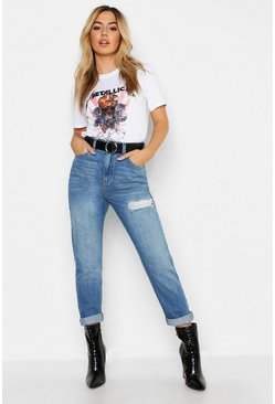 Womens Mid blue Petite Distressed High Rise Boyfriend Jean