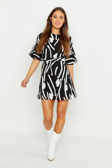Black Petite Abstract Animal Frill Sleeve Tie Shift Dress