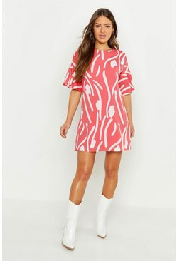 Pink Petite Abstract Animal Frill Sleeve Tie Shift Dress