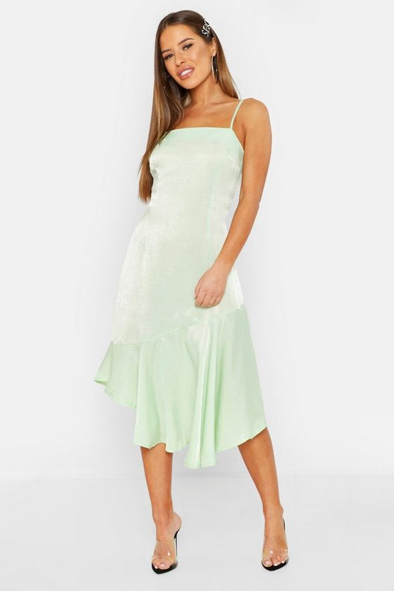 Womens Sage Petite Asymmetric Hem Cami Slip Dress