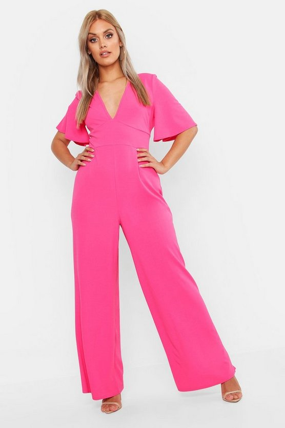 Womens Hot pink Plus Plunge Angel Sleeve Jumpsuit