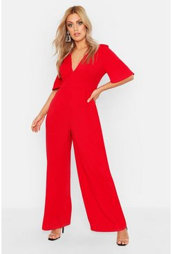 Womens Red Plus Plunge Angel Sleeve Jumpsuit