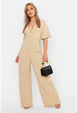 Womens Stone Plus Plunge Angel Sleeve Jumpsuit