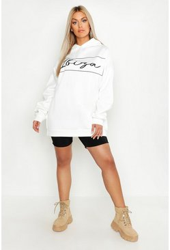 Womens White Plus Ibiza Oversized Hooded Sweat