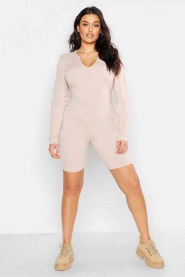 Womens Stone Plus Jumbo Rib Notch Neck Unitard