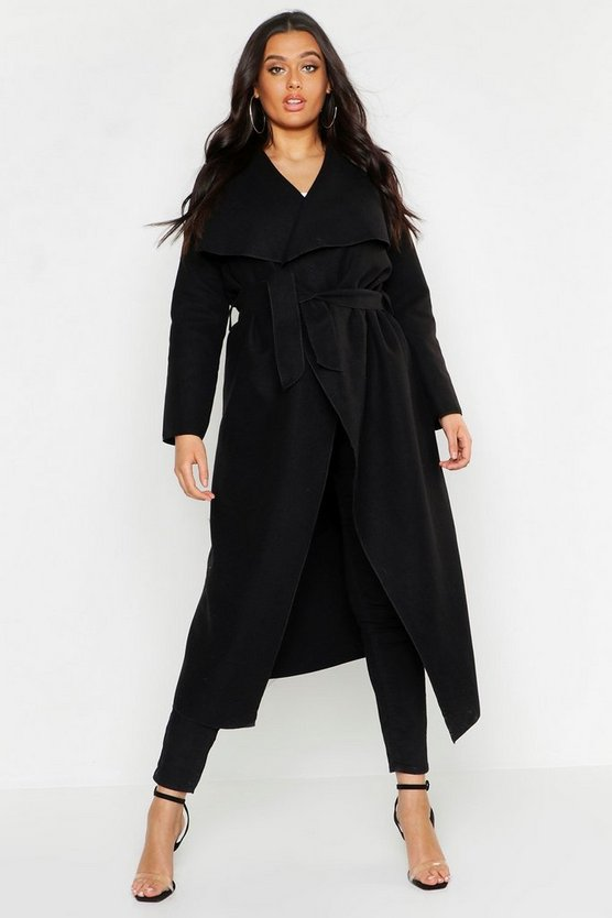 Plus Maxi Waterfall Belted Coat by Boohoo