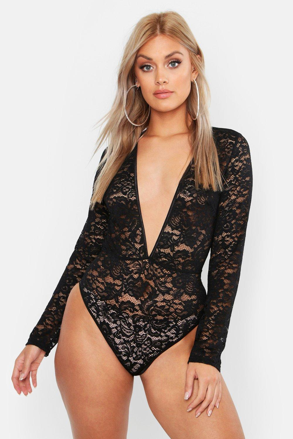 Plus Premium Lace Plunge Longsleeve Body