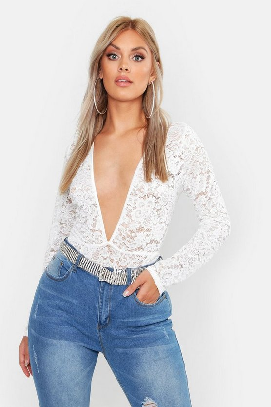Womens White Plus Lace Plunge Longsleeve Body