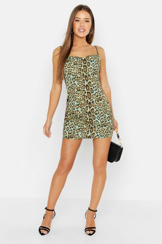 Sage Petite Animal Cowl Neck Slip Dress