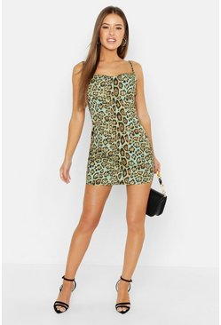 Womens Sage Petite Animal Cowl Neck Slip Dress