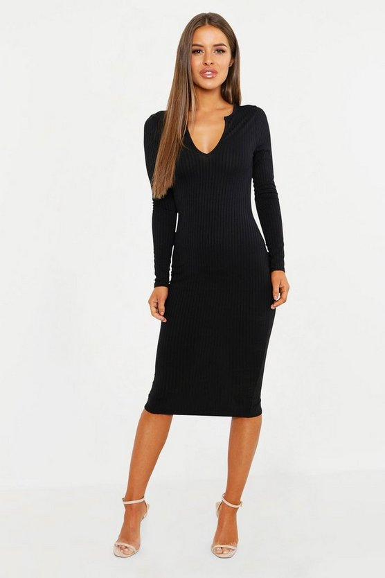 Womens Black Petite Ribbed Notch Neck Midi Dress