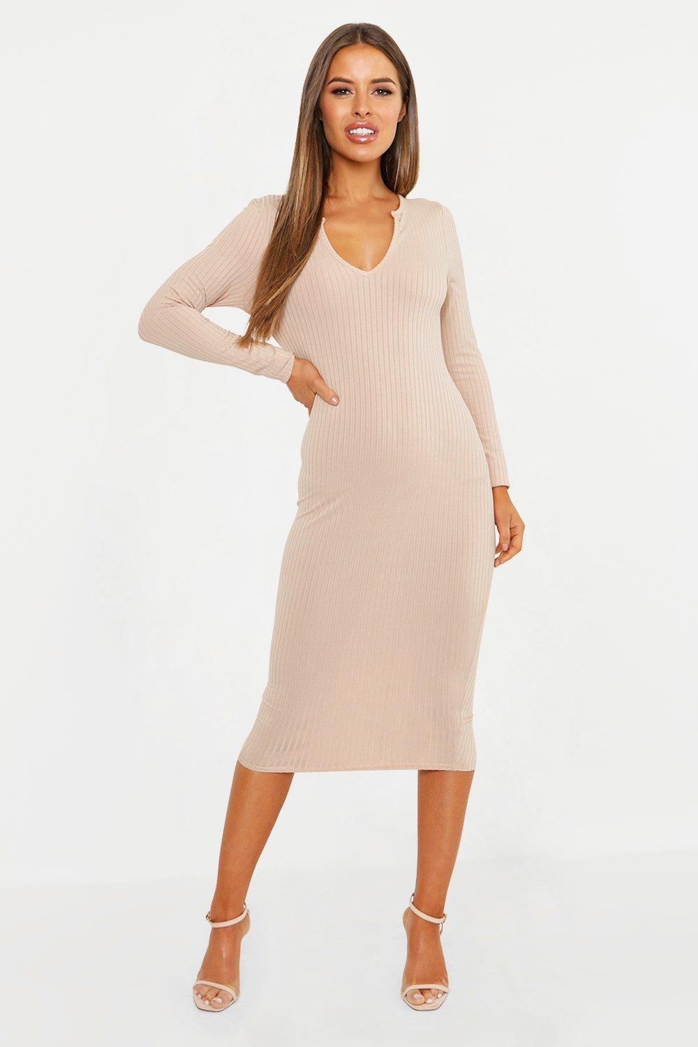 Petite Ribbed Notch Neck Midi Dress