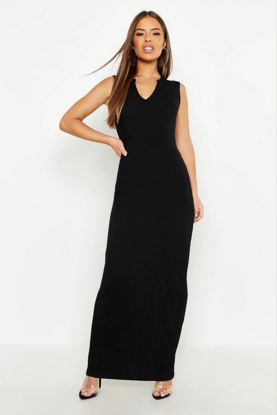 Womens Black Petite Ribbed Notch Neck Maxi Dress