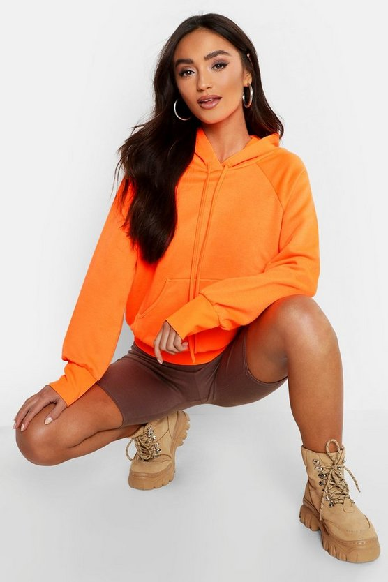 Womens Neon-orange Petite Neon Oversized Hoodie