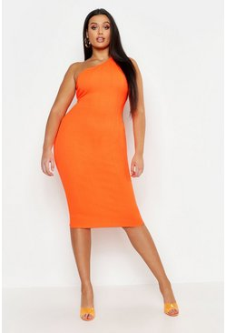 Womens Neon-orange Plus One Shoulder Bandage Midi Dress