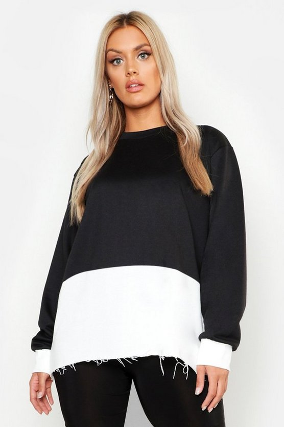 Black Plus Colour Block Oversized Sweater