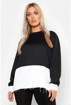 Womens Black Plus Colour Block Oversized Sweater