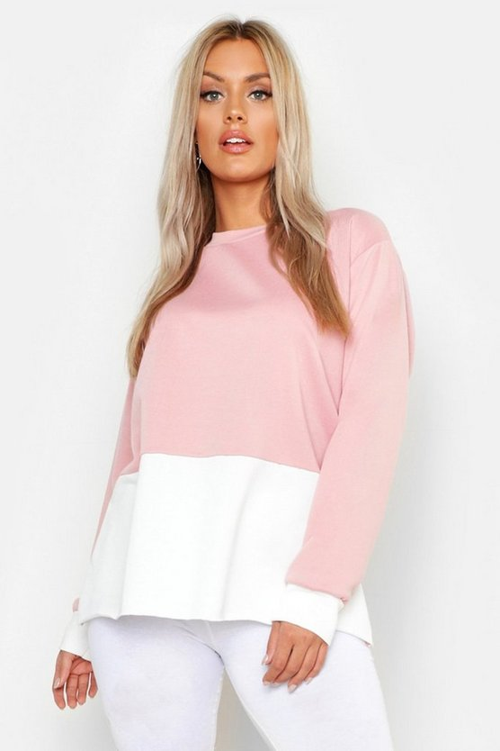 Plus Oversized-Sweatshirt im Colorblock-Design, Blassrosa, Damen