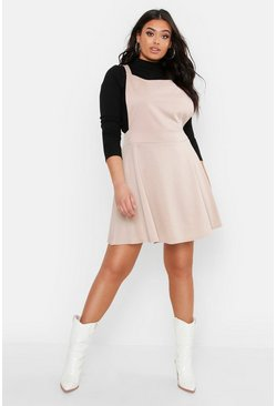 Womens Stone Plus Cross Back Pinafore Dress
