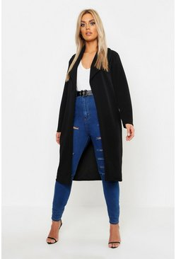 Womens Black Plus Oversized Fold Over Duster