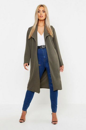 Womens Khaki Plus Oversized Fold Over Duster