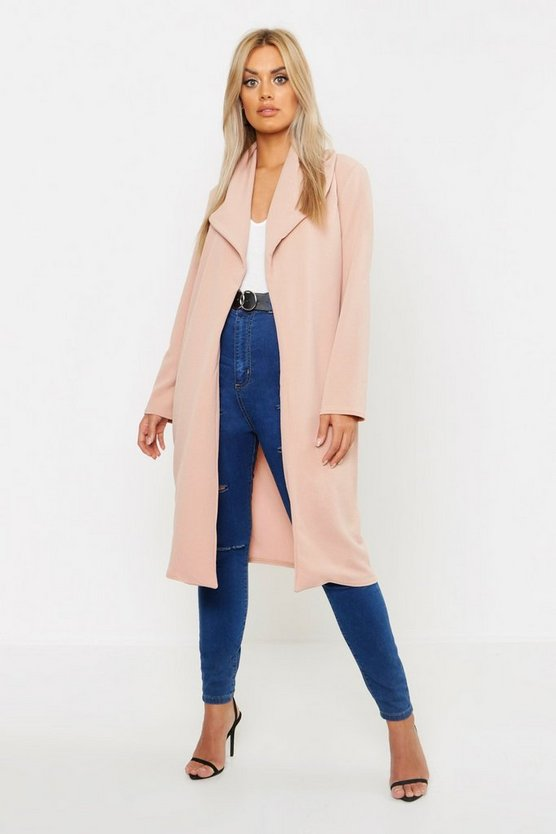 Womens Stone Plus Oversized Fold Over Duster