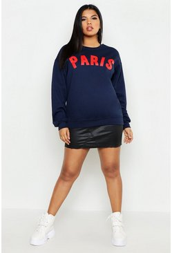Womens Navy Plus Paris Slogan Sweat