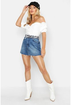 Womens Mid blue Petite Raw Hem Denim Mini Skirt