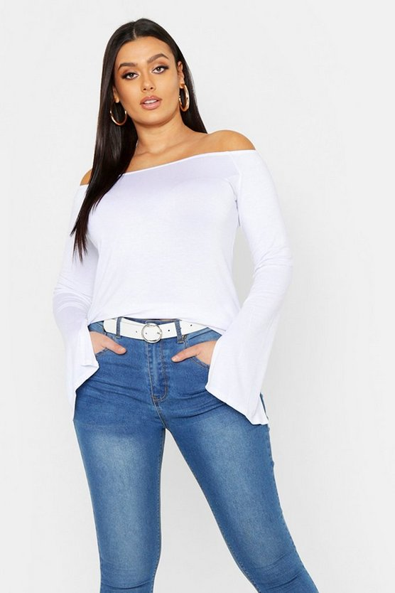 Womens White Plus Split Sleeve Bardot Basic Top
