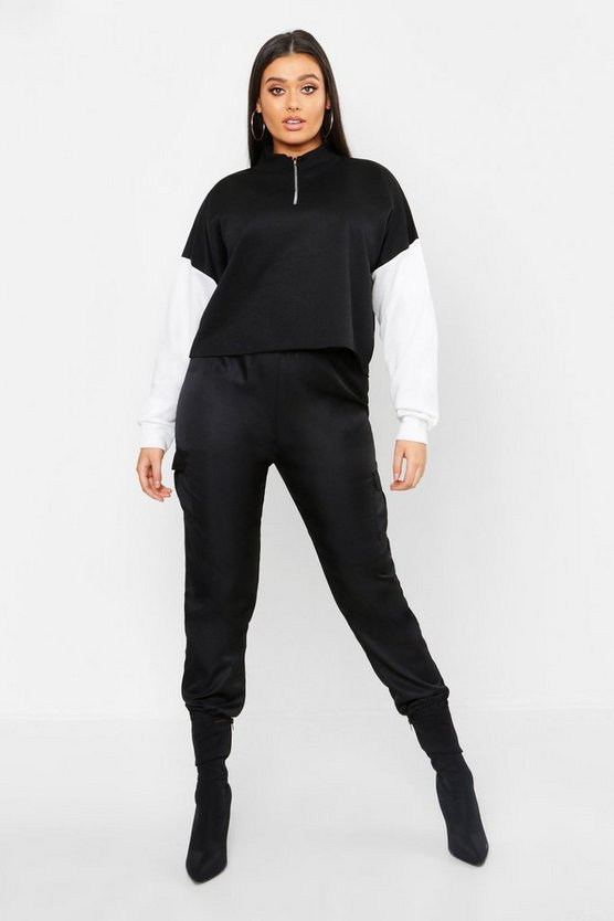 Womens Black Plus Colour Block Tonal Cropped Sweat