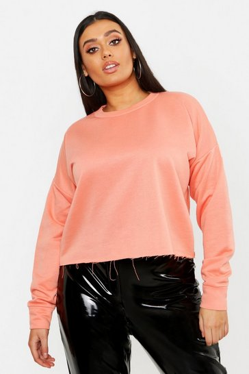Womens Coral Plus Raw Hem Oversized Boxy Sweat